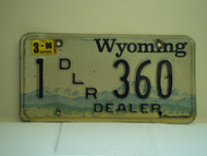1996 WYOMING Dealer License Plate 1 360
