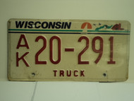 WISCONSIN Truck License Plate AK 20 291