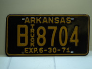 1971 ARKANSAS NOS Truck License Plate B 8704