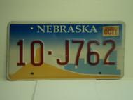 2002 NEBRASKA License Plate 10 J762