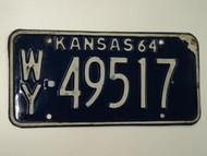 1964 KANSAS License Plate WY 49517