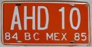 1984 1985 BC Mexico AHD 10 License Plate