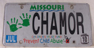 2010 Jul Missouri Vanity License Plate CHAMOR