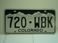 COLORADO License Plate 720 WBK