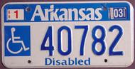 Arkansas Wheelchair 2003 License Plate 2