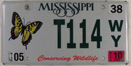 2010 May Mississippi T114 WY License Plate