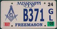 2008 May Mississippi B371 Freemason License Plate