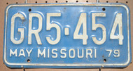 1979 May Missouri GR5-454 License Plate DMV Clear YOM