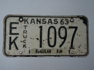 1963 KANSAS 8M Truck License Plate EK 1097