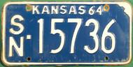 1964 Shawnee Kansas License Plate SN 15736