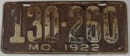 1922 Missouri License Plate 130-260 DMV Clear