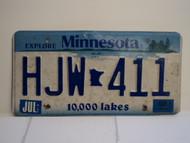 2003 MINNESOTA Explore 10,000 Lakes License Plate HJW 411