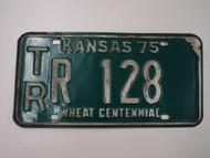 1975 KANSAS Wheat Centennial License Plate TR R 128