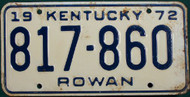 1972 Rowan Kentucky 817 860 License Plate