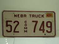 2002 NEBRASKA Commercial Truck License Plate 52 749