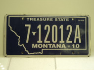 2010 MONTANA Treasure State License Plate 7 12012A