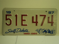 1987 SOUTH DAKOTA Centennial 1889 1989 License Plate 51E 474 1