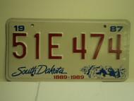 1987 SOUTH DAKOTA Centennial 1889 1989 License Plate 51E 474 1