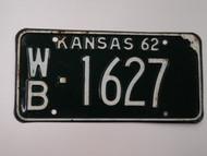 1962 KANSAS License Plate WB 1627