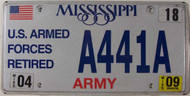 2009 Apr Mississippi ARMY License Plate A441A
