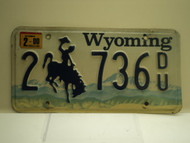 2000 Wyoming License Plate 2 736 DU
