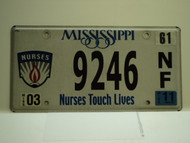 2011 MISSISSIPPI Nurses Touch Lives License Plate 9246 NF