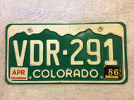 1986 Apr Colorado VDR-291 License Plate