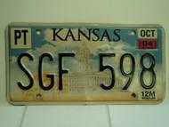 2004 KANSAS Capitol Truck License Plate SGF 598