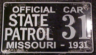 1931 Missouri Official Car State Patrol #31 License Plate