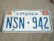 1984 VIRGINIA License Plate NSN 942
