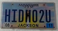2011 Aug Mississippi Vanity License Plate HIDHO2U