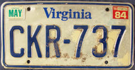 1984 May Virginia CKR-737 License Plate