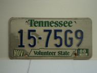 1988 TENNESSEE Volunteer License Plate 15 75G9