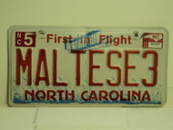 2012 NORTH CARLOLINA First in Flight License Plate MALTESE3