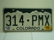 2010 COLORADO License Plate 314 PMX