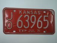 1971 KANSAS License Plate JO 63965