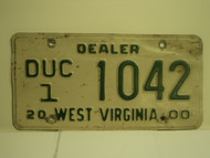 2000 WEST VIRGINIA Dealer Used Car License Plate DUC 1 1042