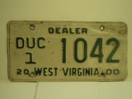 2000 WEST VIRGINIA Dealer Used Car License Plate DUC 1 1042