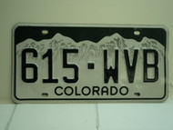COLORADO License Plate 615 WVB