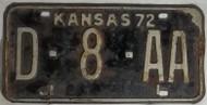 1972 Kansas D-8-AA License Plate