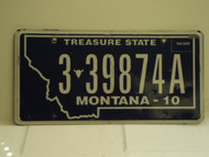 2010 MONTANA Treasure State License Plate 3 39874A
