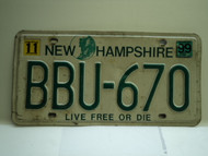 1999 NEW HAMPHIRE Live free or Die License Plate BBU 670