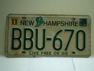 1999 NEW HAMPHIRE Live free or Die License Plate BBU 670