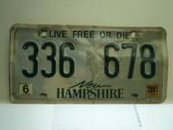 2001 NEW HAMPHIRE Live free or Die License Plate 336 678