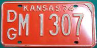1974 DG M 1307 Kansas License Plate