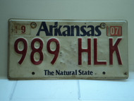 2007 ARKANSAS Natural State License Plate 989 HLK