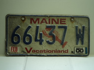 2000 MAINE Lobster Vacationland License Plate 66437 W