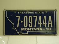 2010 MONTANA Treasure State License Plate 7 09744A