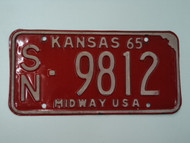 1965 KANSAS Midway USA License Plate SN 9812