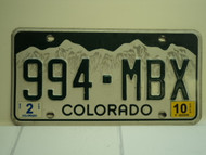 2010 COLORADO License Plate 994 MBX